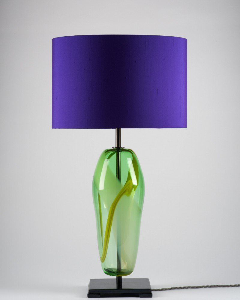 Artisan handblown green glass lucton table lamp aloadofball Gallery