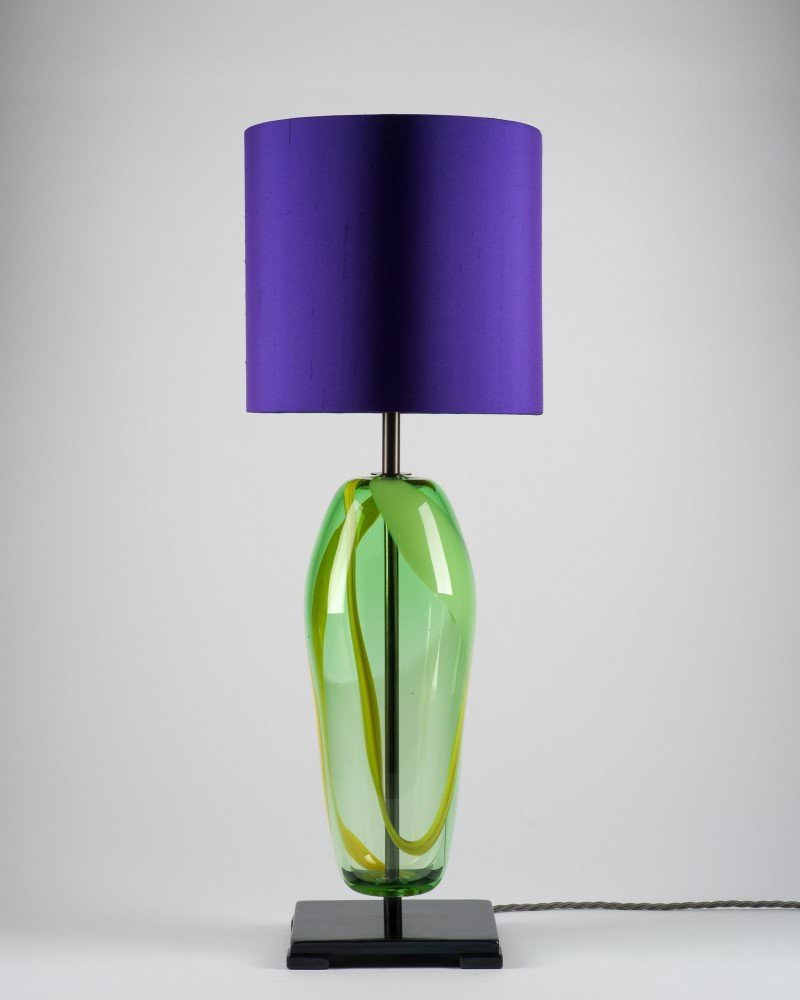 Handblown green glass lucton table lamp artisan handblown green glass lucton table lamp mozeypictures Gallery