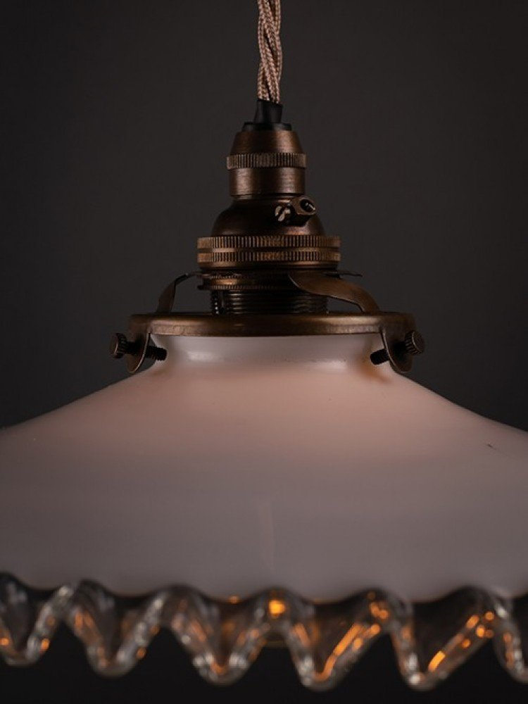 Vintage French glass coolie glass light shade piecrust pendant ceiling light