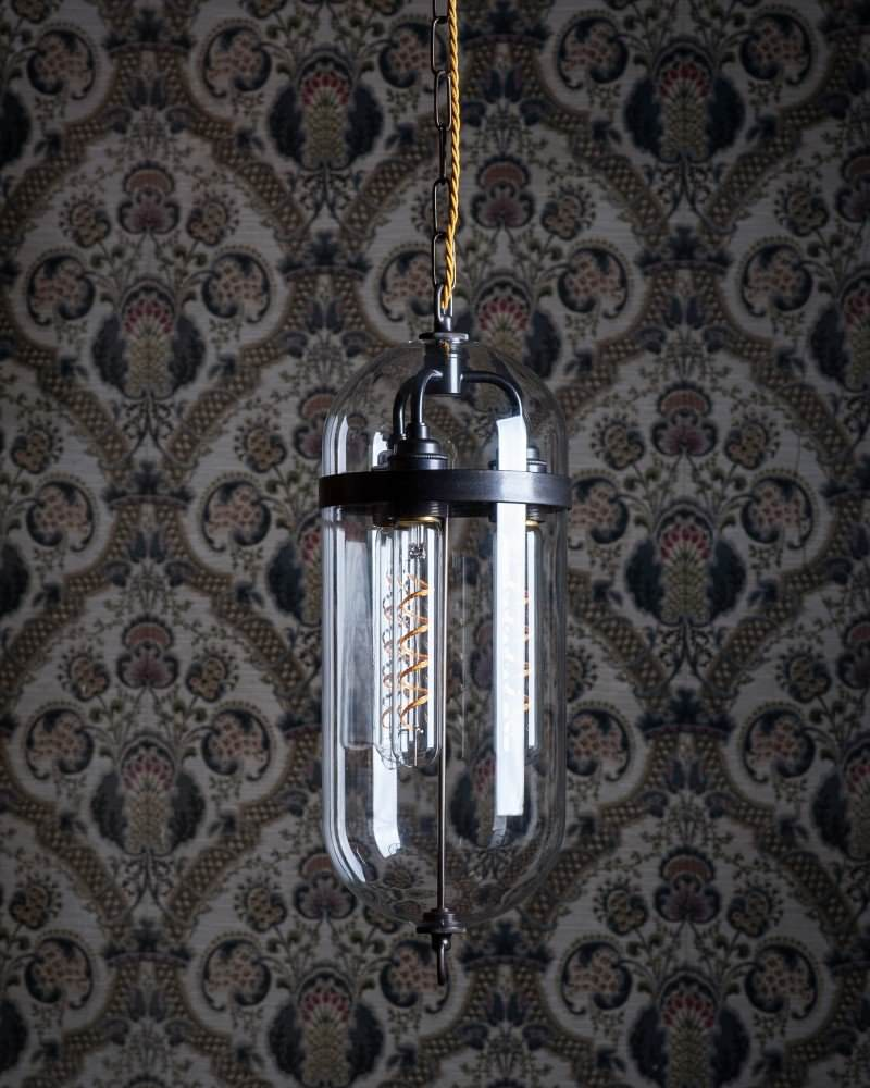 The Aston Lantern With Clear Glass, Ceiling Pendant Light, Industrial Retro Lighting