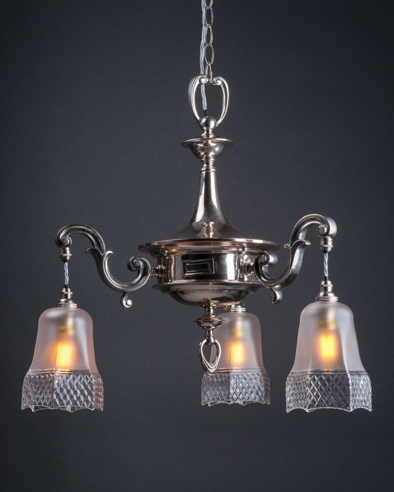 Branch silver plate english chandelier hobnail cut shaes antique three branch silver plate english chandelier hobnail cut shaes antique lighting arubaitofo Image collections
