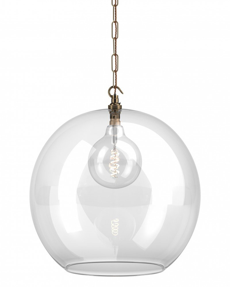 Clear Glass Globe Ceiling Pendant Light, Hereford Retro & Contemporary Design