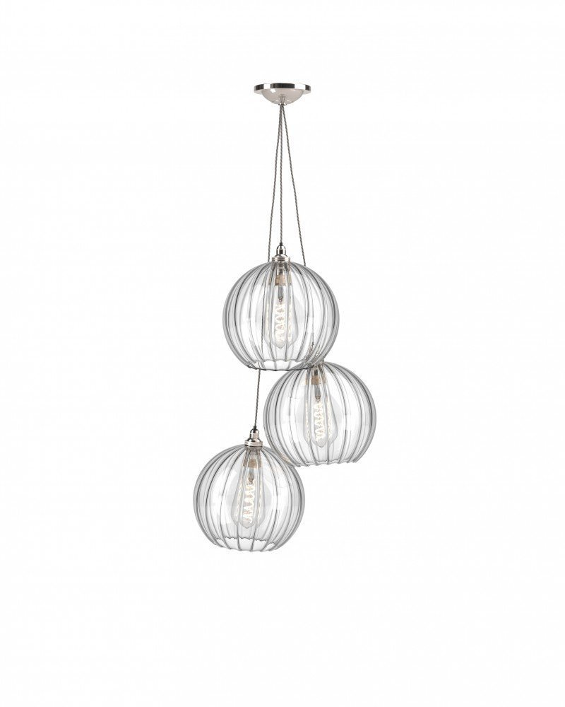 Clear Glass Globe Staggered Cluster Ceiling Pendant Light, Hereford Retro & Contemporary Design