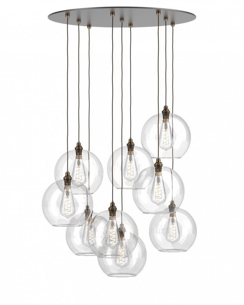 Clear Glass Staged Cluster (9) Globe Pendant Ceiling Light, Hereford Retro & Contemporary Design