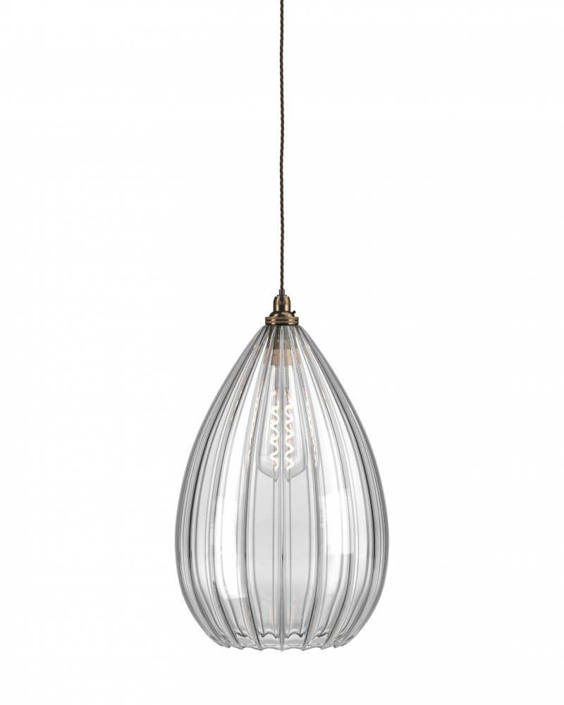 Teardrop Clear Ribbed Glass Ceiling Pendant Light Wellington Contemporary Lighting