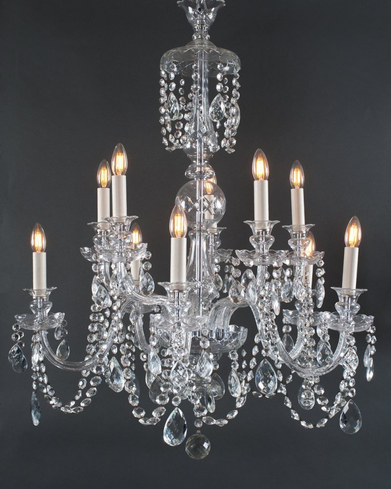 - 10 Branch Bohemian Antique Crystal Chandelier, Antique Lighting
