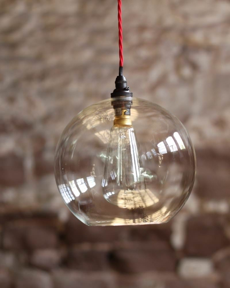 Clear Glass Globe Ceiling Pendant Light, Hereford Retro
