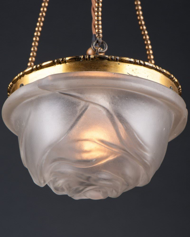 French Satin Glass Rose Pendants Ceiling Light (Pair), Antique Lighting