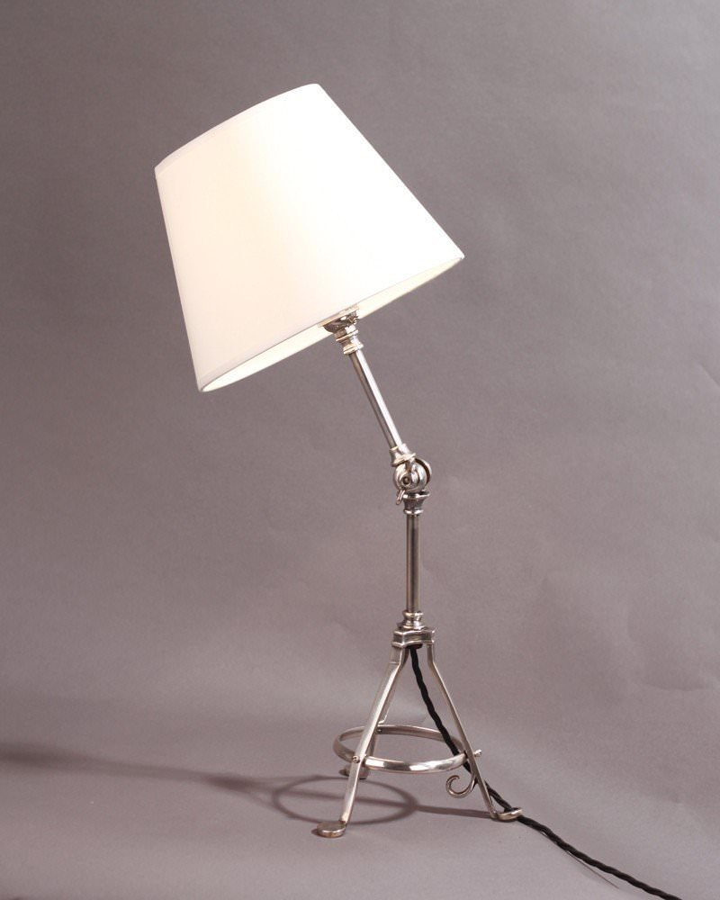 Footed silver plate adjustable table lamp in the benson style tri footed silver plate adjustable table lamp in the benson style aloadofball Image collections