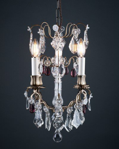 French Cage Crystal Chandelier With Purple Crystal Droppers, Antique Lighting