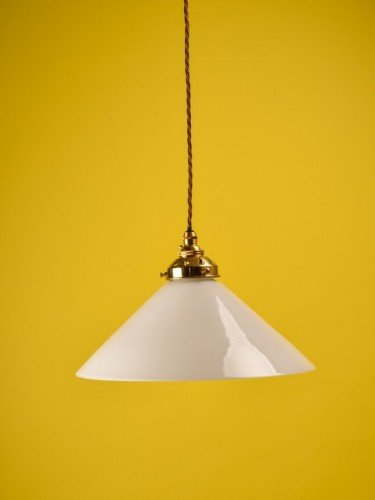 Industrial white glass hay coolie pendant light