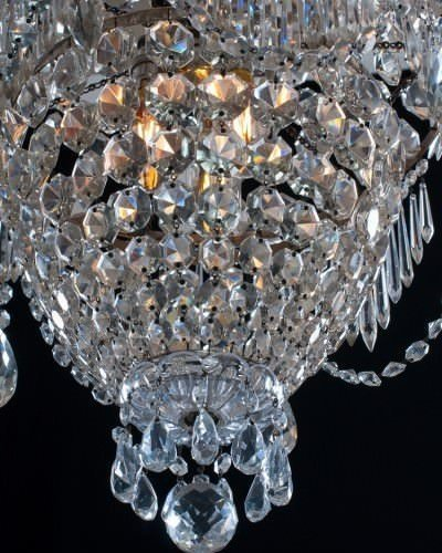 Antique crystal chandelier, view from bottom.