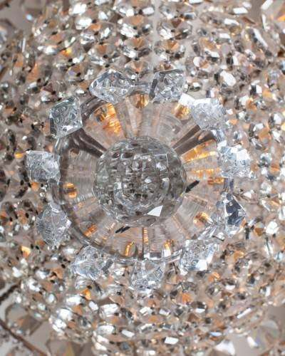View up through antique crystal chandelier