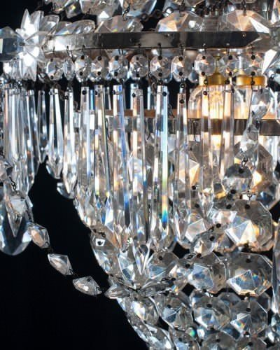 Detail of antique waterfall and bag crystal chandelier
