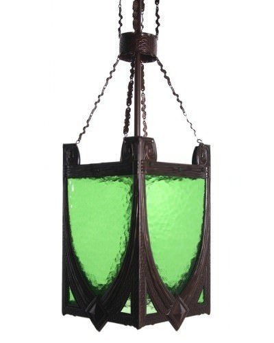 Sesionist Arts And Crafts Lantern With Green Coloured Glass