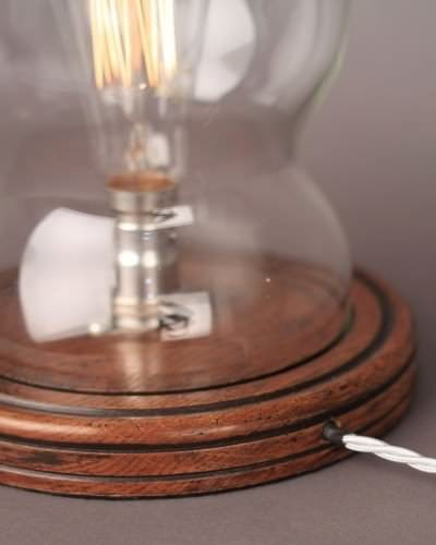 Bespoke made dome table lamps wooden base top close up