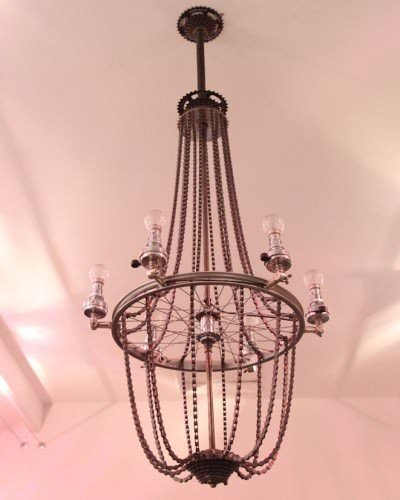 Upcycled Bicycle Wheel And Cog Chandelier, Bespoke Retro Vintage Lighting