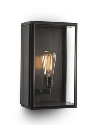 Outdoor Brass Box Wall Lantern, Birch Industrial Retro Lighting