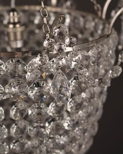 Small Brampton crystal bag chandelier with silver plate metal work