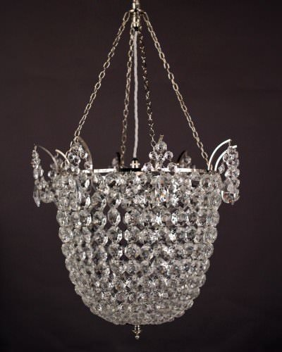 Crystal bag chandelier hand made by Fritz Fryer