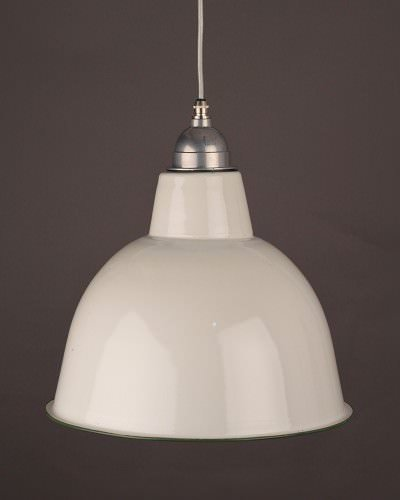 White Enamel Pendant Ceiling Light, Industrial Retro Lighting