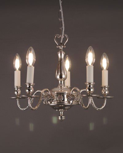 Five Branch Silver Plated Chandelier with Ramshead Detail
