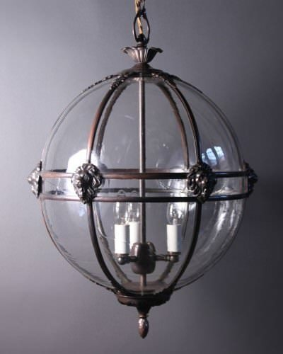Brass Globe Hall Lantern Light, Antique Lighting