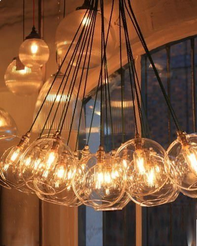 Large Dish Cluster chandelier with large clear Hereford glass globe shades