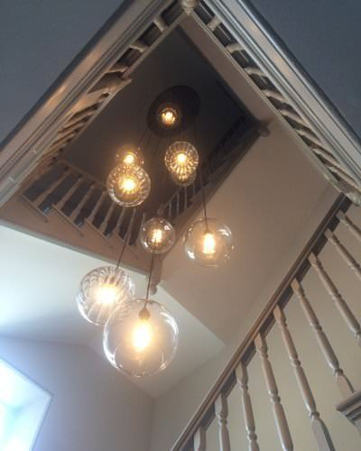 Hereford globe multi pendant cluster chandelier with ribbed glass globes