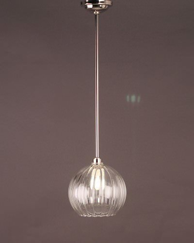 Clear Ribbed Glass Globe Bathroom Ceiling Light, Hereford Retro & Contemporary Design (Ip44 Rated)