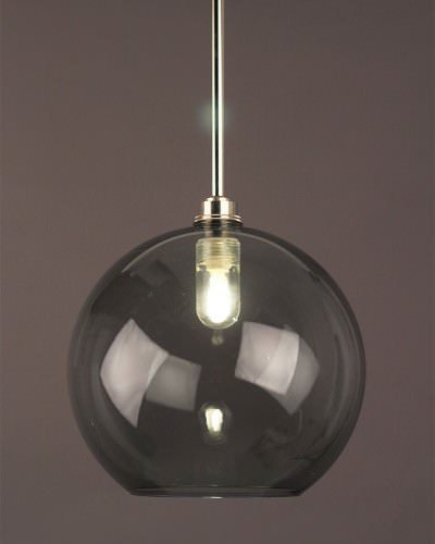 Smoked Glass Globe Pendant Bathroom Ceiling Light, Hereford Retro & Contemporary Design (Ip44 Rated)