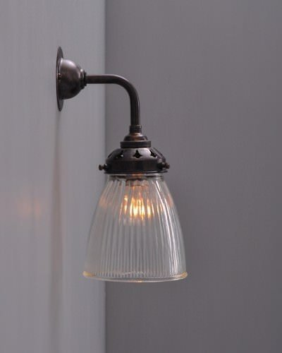 Prismatic Ribbed Glass Wall Light, Peterstow Vintage Retro Lighting