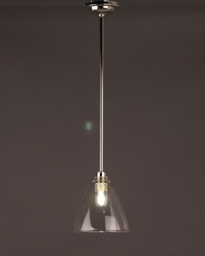 Clear Glass Ribbed Pendant Bathroom Ceiling Light, Ledbury Retro & Contemporary Design (Ip44 Rated)