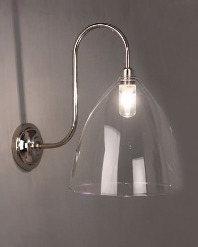 Clear Glass Bathroom Wall Light, Swan Neck,  Ledbury Retro & Contemporary Design (Ip44 Rated)