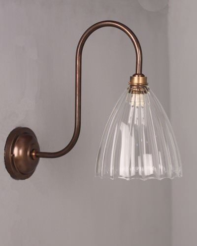 Fritz Fryer Swan neck Bathroom wall light with the Ledbury ribbed glass shade.