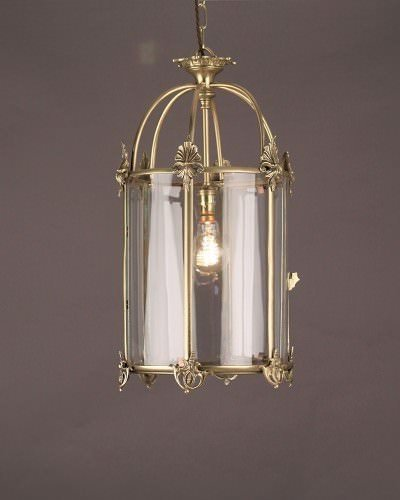 Cylindrical Brass Lantern With Honeysuckle Motif, Antique Lighting