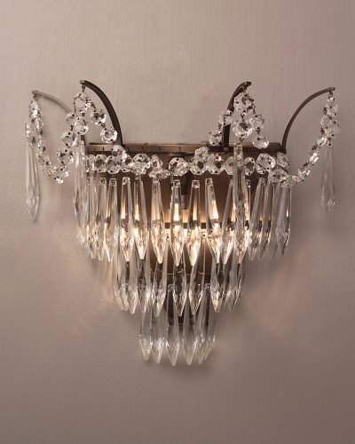 Marcle Crystal And Brass Wall Light, Retro Lighting