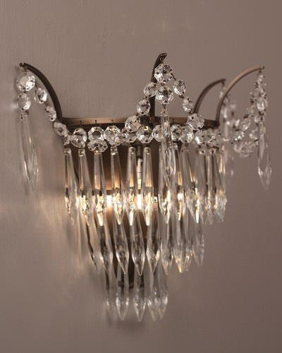 Crystal And Brass Wall Light Marcle Vintage Retro