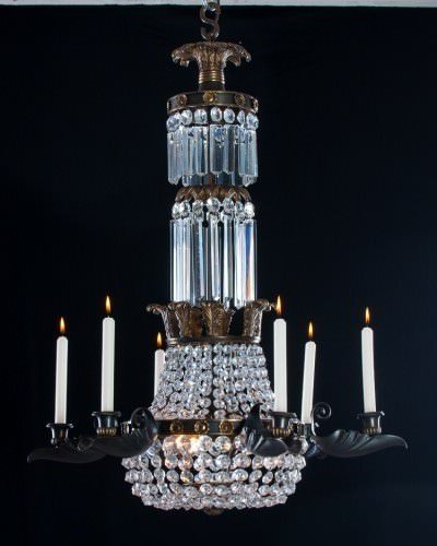 Neo-Classical Crystal Chandelier, Bronze And Gilt, Antique Lighting