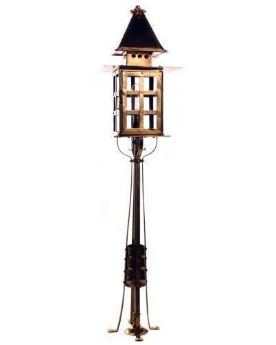 Arts And Crafts Newell Post Solid Brass Lantern, Vintage Lighting
