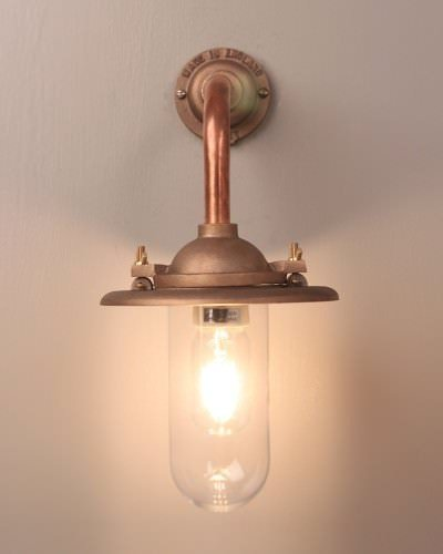 Sandblasted cast bronze and copper outdoor wall bracket light retro industrial lighting