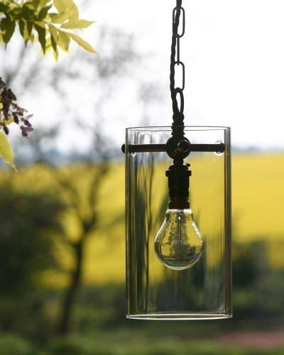 Small, clear, glass, Sellack lantern with bronze metal finish