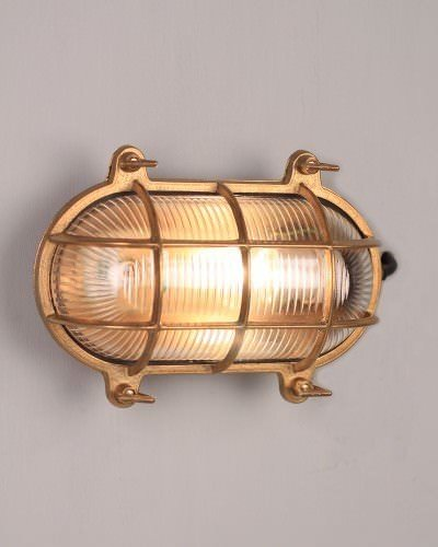 Brass Oval Bulk Head Wall Or Ceiling Light, Retro Industrial Lighting