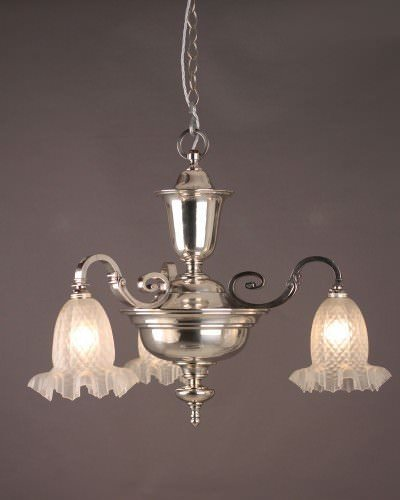 Silver Plate Chandelier With Edwardian Frosted Quilted Shades, Antique Lighting