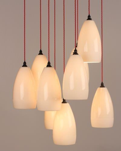 New from Fritz Fryer is the Upton ceramic cluster chandelier featuring multiple ceramic pendants in a cluster