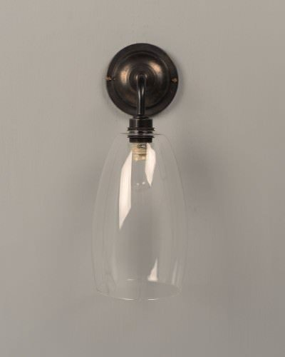 upton clear glass contemporary bathroom wall light in bronze ip44