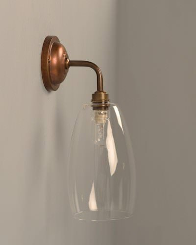 Upton contemporary bathroom wall light in antique brass ip44