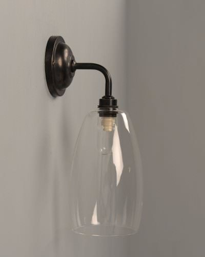 Upton contemporary bathroom wall light in bronze ip44
