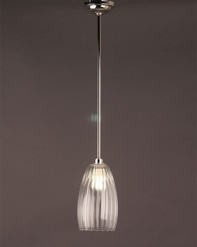 Clear Ribbed Glass Pendant Ceiling Bathroom Light, Upton Retro & Contemporary Design (Ip44 Rated)