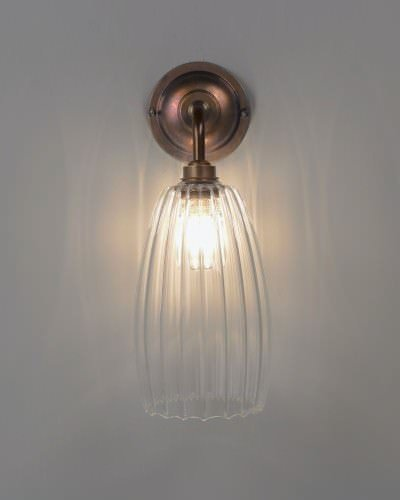 Clear Ribbed Glass Bathroom Wall Light Ip44 Upton